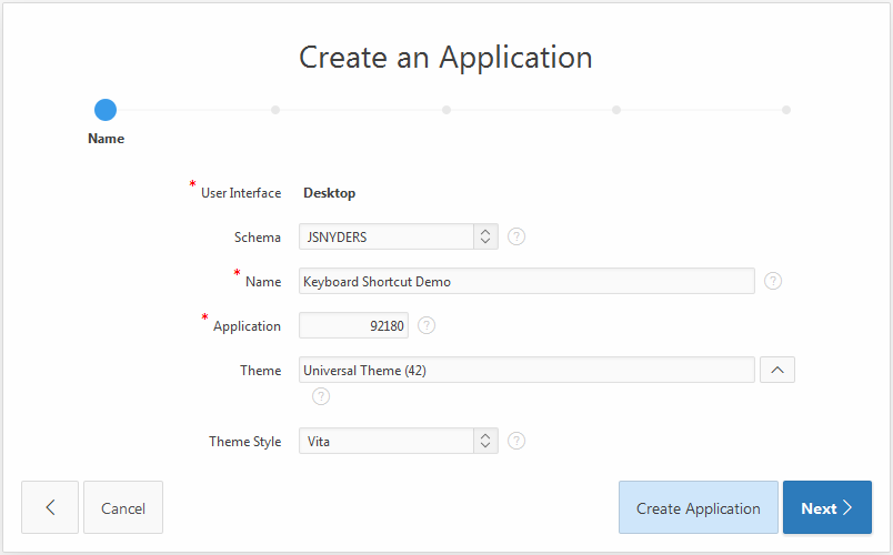 Create application step 1 Name